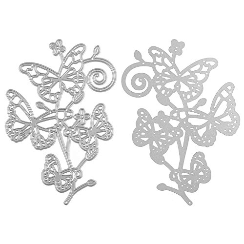 Butterfly Metal Flowers (ZbFwmx Butterfly Flower Metal Cutting Dies Stencils For Scrapbooking Album Decorative Embossing Folder Paper Cards DIY)