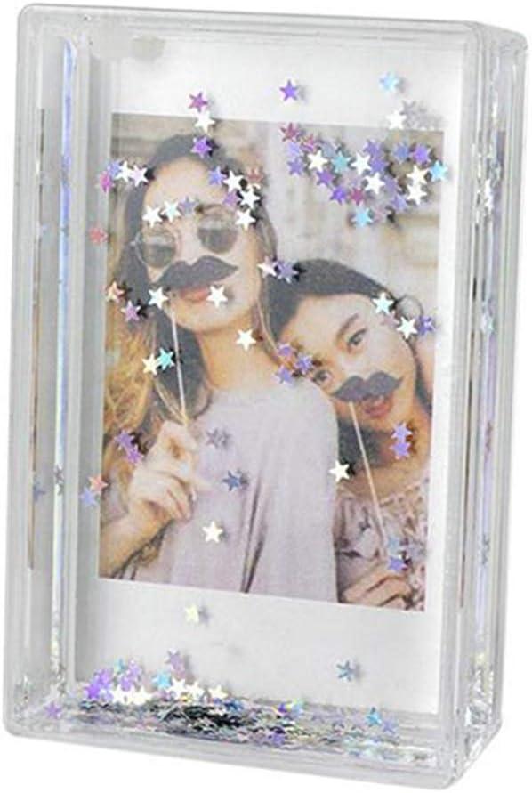 Hurricanes 3 Inch Glitter Snow Frame Photo Deaktop Decro Picture Shake for Fujifilm Instax Mini Liplay 9 8 8 7s 25 26 50s-Blue Diamond