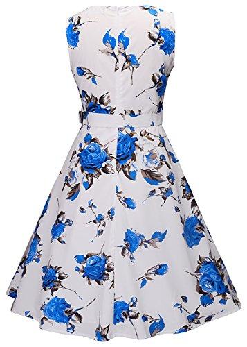 Mujeres Vintage 1950s Floral Lemon Primavera Garden Party Dress Partido vestido de cóctel Rosas azules