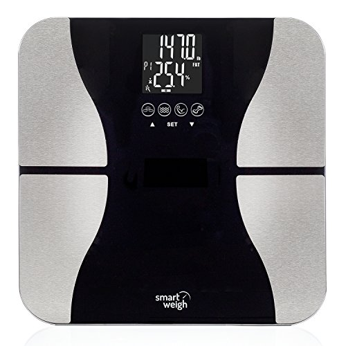 Smart Weigh Digital Bathroom BMI Body Fat Weight Scale, Tempered Glass, 440 pounds, Black Doctor Weight Scale