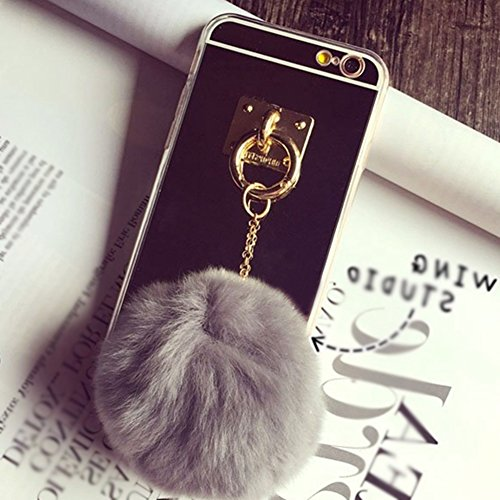 Plush Cell Phone Keychain - Premium Fur Ball Phone Case with Grey Plush Fur Ball,Soft TPU Gel Back Case Cover for IPhone 6/6s 4.7