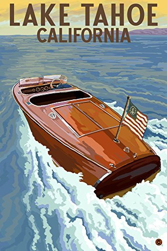 Lake Tahoe, California - Wooden Boat (16x24 Giclee Gallery Print, Wall Decor Travel Poster)