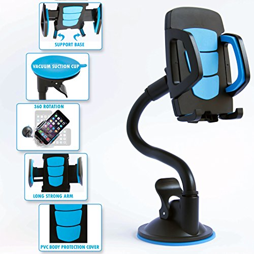 Universal Long Arm Car Mount Phone Holder With 360 Rotation, Adjustable & Flexible Neck And Secure Strong Adhesive Suction Cup For Windshield Stand. Blue Cellphone Cradle For Smartphone Mobile Device (Sony Phone Accesories compare prices)