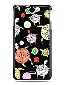 "GRÜV Premium Case - ""Colorful Turtles & Seashells"" Design - Best Quality Designer Print on Black Hard Cover - for Sony Ericsson Xperia V LT25i"