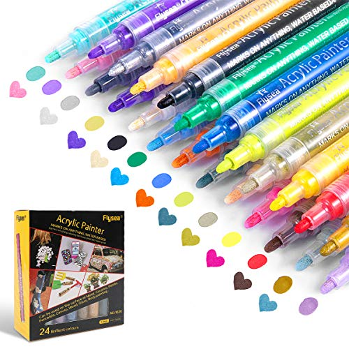 Paint Pens,Acrylic Paint Markers,24 Colors Permanent Waterproof,Paint Markers for Rock Painting/Canvas/Pumpkin Decorating