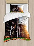 Ambesonne Teen Room Duvet Cover Set Twin Size, Professional Baseball Players in The Stadium Playing The Game Pich Sports Print, Decorative 2 Piece Bedding Set with 1 Pillow Sham, Multicolor