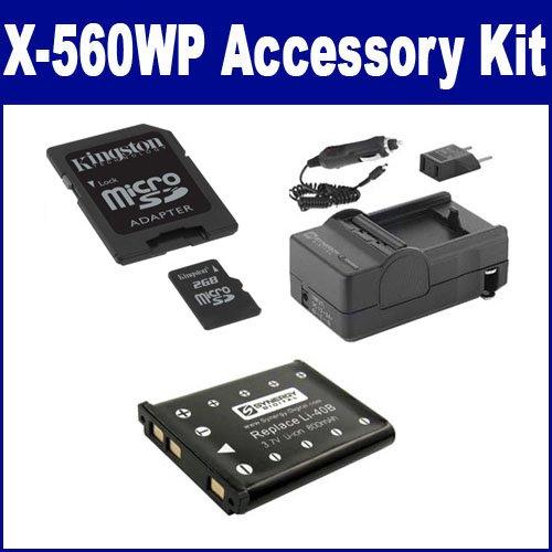 Olympus X-560WP Digital Camera Accessory Kit includes: M45547 Memory Card, SDLI40B Battery, SDM-141 Charger 800 Mah Fuji Battery