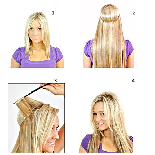 22-24 inches Invisible Wire No Clips in Synthetic Hair Extensions Secret Fish Line Hairpiece