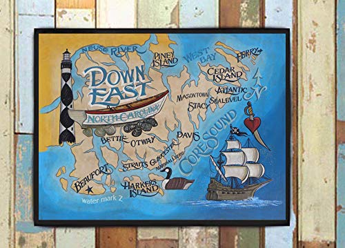 Down East NC/Crystal Coast Print from an original hand painted and lettered sign. Beach House Decor, North Carolina Art, Core Sound