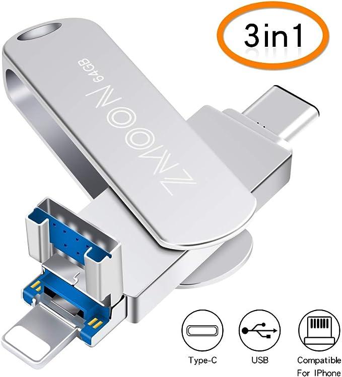 51 opinioni per 64GB 3 in 1 USB Memory Stick, Flash Drive Espansione Memoria Multi-funzion