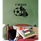 Personalized Soccer Ball (With Cleats) Sports Wall Decal 22x22 (Black)