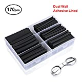 innhom Heat Shrink Tubing Black 170pcs Ratio 3:1 Dual Wall Adhesive Lined Heat Shrink Tube Sleeving Wire Shrink Wrap Tubing Kit Insulation Protection Flame Retardant Car Electrical Cable