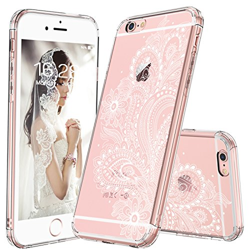 MOSNOVO iPhone 6S Case/iPhone 6 Slim Case, White Floral Henna Paisley Flower Clear Design Transparent Plastic Hard with Soft TPU Bumper Protective Back Case Cover for Apple iPhone 6/6S (4.7 Inch)