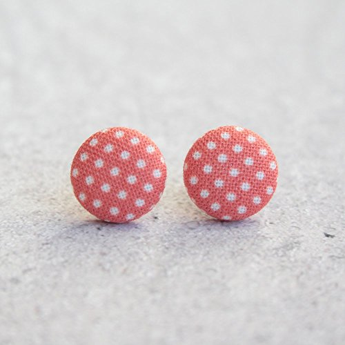 (Red Polka Dot Fabric Button Earrings)