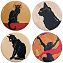 "Buttonsmith Steinlen Les Chats Noir Black Cats Art Nouveau 1.25"" Refrigerator Magnet Set - Made in the USA"