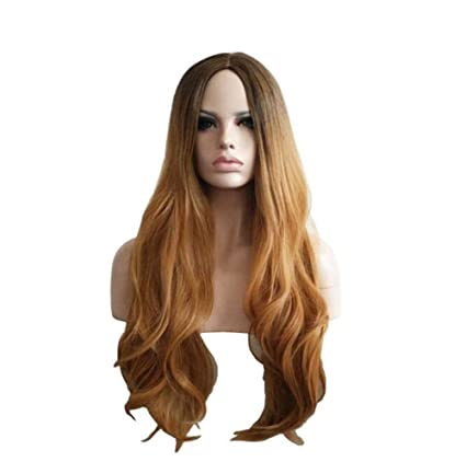 OKMIJNBH Peluca Mujer Marrón Largo Cosplay Anime Wigs- Fashion Peluca Rizada Natural 66Cm/26Inch