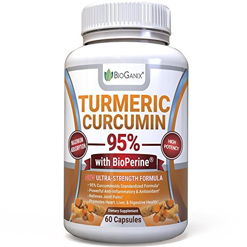 Organic Turmeric Curcumin Extract Supplement 95% Standardized with BioPerine – Natural Anti-Inflammatory Powder Pills to Relieve Pain & Provide Supreme Health Benefits (1000mg) 60 capsules