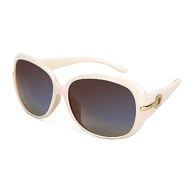 bce371c5ae OYMI Women s Latest Style Oversized Polarised Sunglasses 100% UV Protection  Set with Rhinestones (Beige