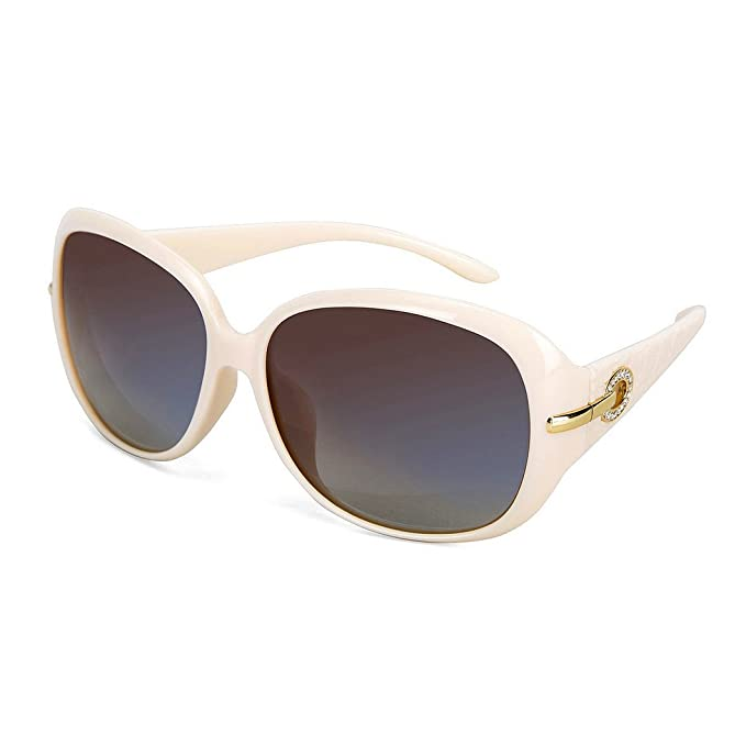 ec87a396048 OYMI Women s Latest Style Oversized Polarised Sunglasses 100% UV Protection  Set with Rhinestones (Beige