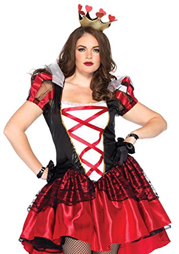 Leg Avenue Women's Plus-Size 2 Piece Royal Red Queen Costume, Black/Red, X-Large/XX-Large