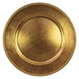 Jay Imports 13'' Beaded Gold Round Chargers Plates, Set of 6