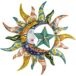 Sun Moon & Stars Metal Wall Hanging Garden Art