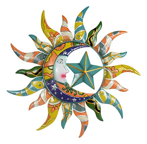 (Sun Moon & Stars Metal Wall Hanging Garden Art )