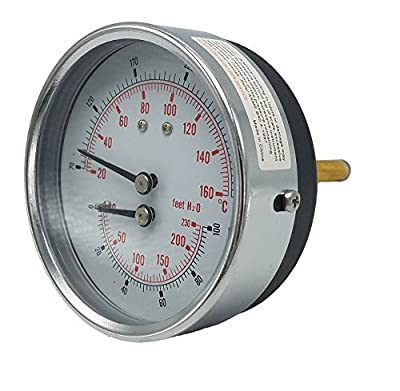 "Kodiak Controls 4104-3.25-2-70-100PSI Tridicator, 3 1/4"" Dial, 2"" Stem, 70/320F, 0-230'/H2O, 0-100 psi, Dry, 3-2-3% Accuracy, Back Mount, Steel, Black"