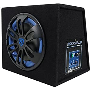 "Rockville RVB12.1A 12"" 500w Active Powered Car Subwoofer+Sub Enclosure+Amp Kit"