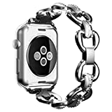 Womens Girls Elegant Stainless Steel Watch Band Apple Jewelry Quick Release Buckle Replacement iWatch Strap for Apple Watch Series 3, Series 2, Series 1, Nike+ and Edition(38mm Silver)