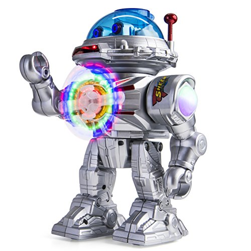 Prextex Shooting Disc Combat Robot Toy Shoots Soft Discs, LED Flashing Lights and Sound, Walks, Talks, and Dances
