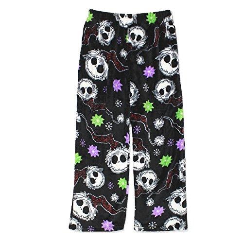 Disney The Nightmare Before Christmas Jack Skellington Womens Fleece Pajama Pants (Large, Black) Jack Skeleton Nightmare Before Christmas