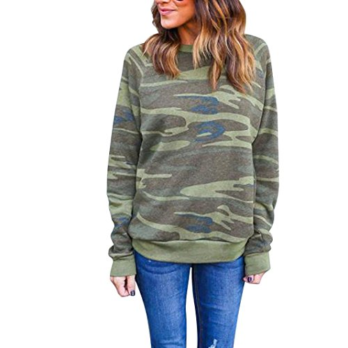 40 Blend Chino Skirt (FAPIZI ♥ Women Blouse ♥ Women 's camouflage long - sleeved leisure sweater (S, Green))