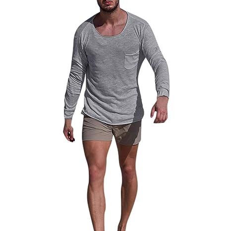... Largo Manga Delgada Informal Bolsillo Tops Blusa Camisas,Beikoard Mangas Largas De Los Hombres Cuello Redondo Slim Fit: Amazon.es: Ropa y accesorios