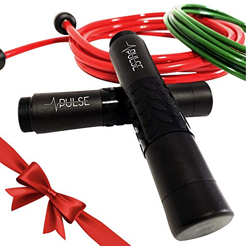 Pulse Weighted Jump Rope Set with Adjustable Weighted Rope 1/2 LB, Speed Rope 1/4 LB and Aluminum Handles.