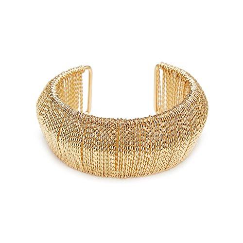 ViViCaSa Metal Fashion Wide Cuff Bangle Bracelet for Girls Women, Gold