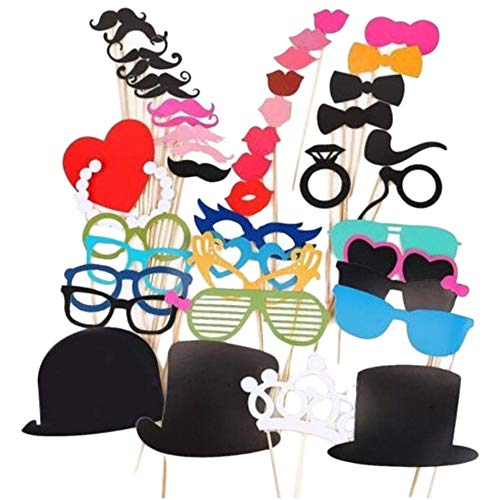 Cacys-Store - 44pcs New DIY Masks Photo Booth Props Mustache On A Stick Wedding Birthday Party Christmas New Year Funning Creative Boothprops