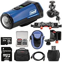 Coleman Aktivsport CX9WP GPS HD Video Action Camera Camcorder (Blue) with 32GB Card + Cases + Kit