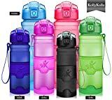 KollyKolla Water Bottle BPA Free Tritan, Opens with 1-Click Flip Top Leak-Proof Lid, Kids Drinks Bottle, Reusable Water Bottles with Filter, for Sports, Outdoors, Gym, Yoga, (1L Matte Black)