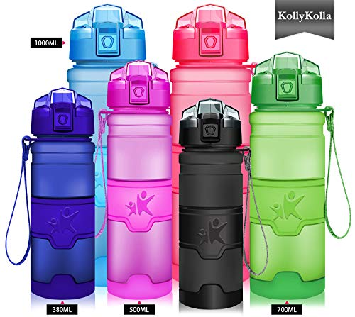 (KollyKolla Water Bottle BPA Free Tritan, Opens with 1-Click Flip Top Leak-Proof Lid, Kids Drinks Bottle, Reusable Water Bottles with Filter, for Sports, Outdoors, Gym, Yoga, (1L Matte Black))
