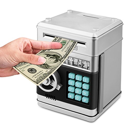 - Zonkin Cartoon Electronic ATM Password Piggy Bank Cash Coin Can Auto Scroll Paper Money Saving Box Gift for Kids (Silvery)