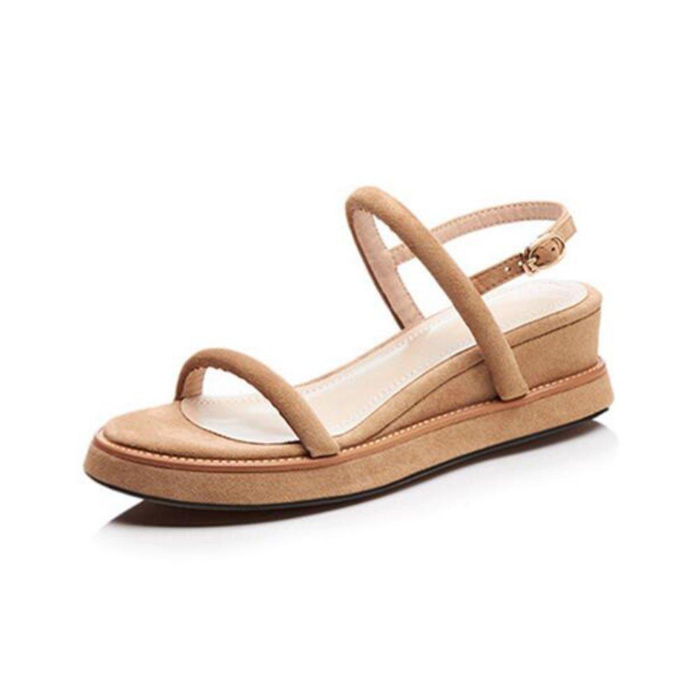 QIDI Sandalen Sommersaison Frau Zehe Öffnen Mittlerer Absatz Einzelne ( Schuhe Gummi Materialien ( Einzelne Farbe : Aprikose , größe : EU35/UK3 )  Aprikose b72c25