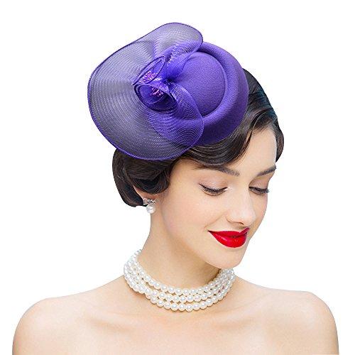 Edith qi Womens Fascinator Vintage Mesh Net Wool Felt Pillbox Hats Hair Clip Purple -