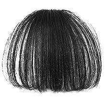 Elisona-Girls Fake Straight Hair Fringe Bang Hairpiece Full Bangs Hairpieces Clip Black