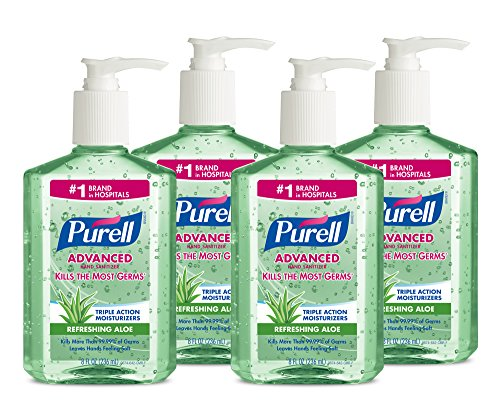 Purell 9674-04-ECIN Advanced Hand Sanitizer with Aloe, 8 oz Bottles (Pack of 4)