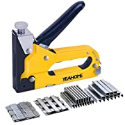 #LightningDeal Upholstery Staple Gun Heavy Duty, YEAHOME 4-in-1 Stapler Gun with 4000 Staples, Manual Brad Nailer Power Adjustment Stapler Gun for Wood, Crafts, Carpentry, Decoration DIY, Fathers Day Gifts
