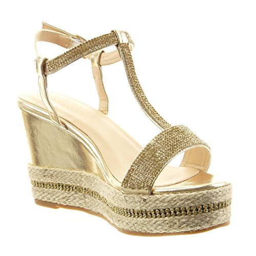 Sopily - damen Mode Schuhe Sandalen Espadrilles Offen Plateauschuhe Strass Seil - Gold
