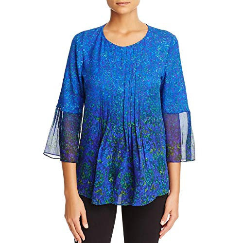 Elie Tahari Womens Orion Silk Printed Blouse Blue XL ()