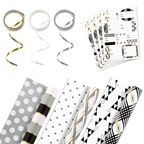 Hallmark Reversible Wrapping Paper Bundle with Ribbon & Gift Tag Stickers  – Black, Gold Stripes, Plaid (3 Pack, 120 sq. ft. ttl, 30 Yds. Mini Ribbon, 36 Labels) for Christmas, Hanukkah, Weddings