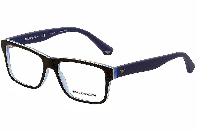 Armani EA3059 Eyeglass Frames 5392-53 - Top Black/matte Blue at ...